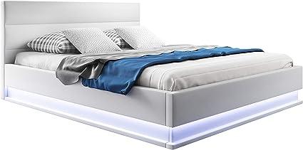 muebles bonitos Cama canapé abatible de Matrimonio Moderna Nitas con somier de láminas para colchón de 160x200cm Blanco diseño Italiano con LED Blanco ...