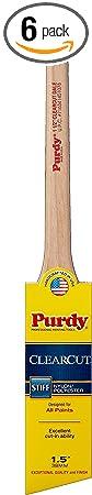 Purdy 144080115 Clearcut Angular Trim Dale Brush, 1-1/2-Inch, 6-Pack