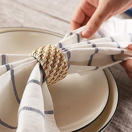 Bloomma Anillo de servilleta hecho a mano, 1 unidad, soporte para servilletas de mesa