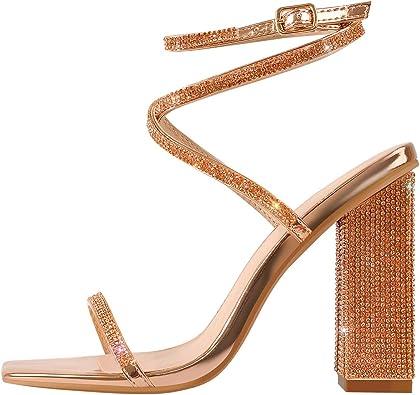 Women Glitter Open Toe Ankle Strap Pump Sandal Block Chunky High Heel Shoes Size