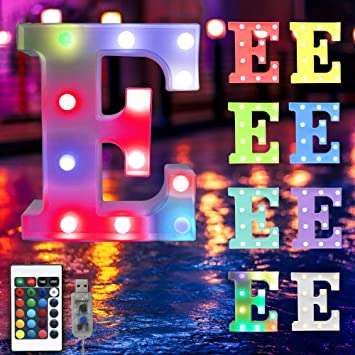 16 Color Changing Marquee Letter Light,Light Up Colorful 26 Alphabet Signs – Home Decor Name Signs – USB Powered LED Remote Timer – Lighted Vintage Accessories & Decorations-E