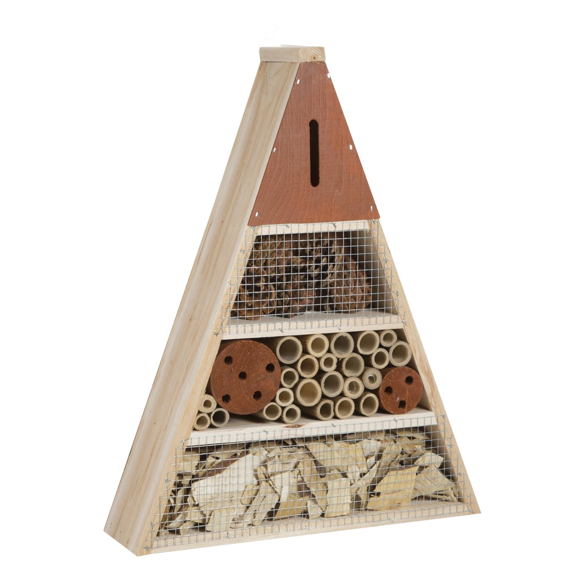 Wedestock Maison à Insectes, Hôtel Refuge en Bois Forme Triangle à Poser ou Suspendre Détails Marron
