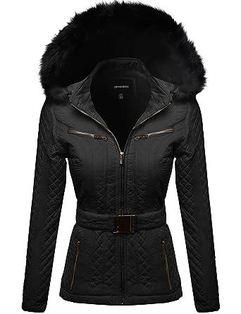 Awesome21 Women's Fine Quality Padded Detachable Hood Jacket Fur ...
