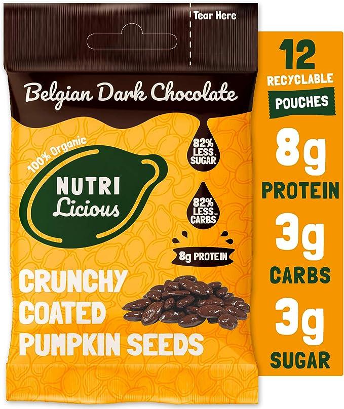 Nutrilicious Semillas de Calabaza de Chocolate Negro - Keto, Ricas en Proteínas Bajos en Carbohidratos, Menos Azúcar, Ricas en Fibras, Sin Edulcorante ...