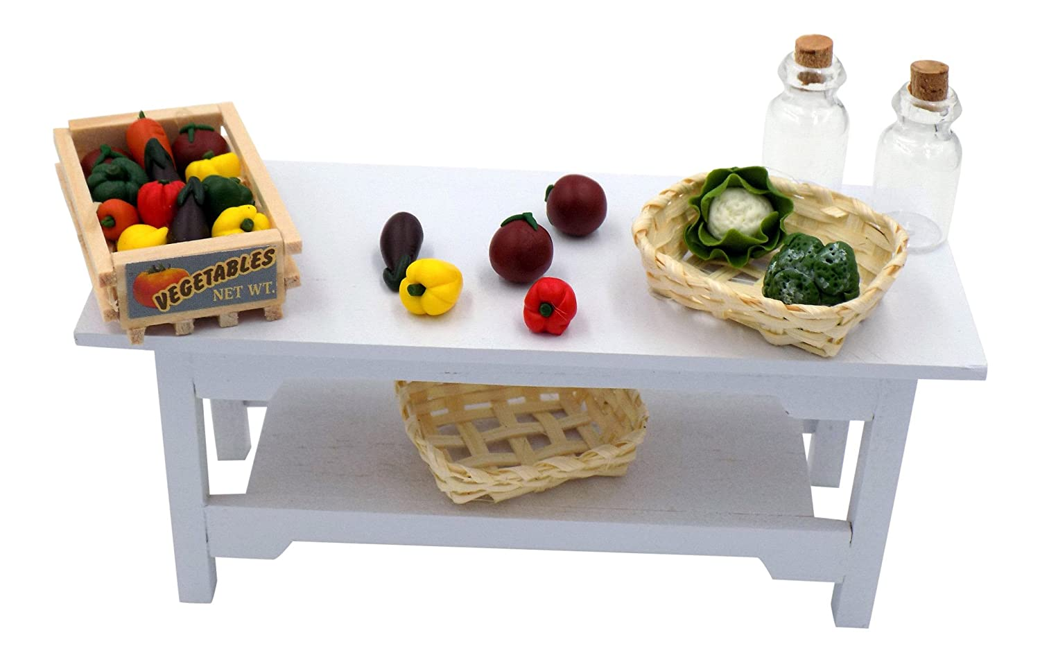 Kitchen Dollhouse Miniatures - Table w/ Baskets, Reproduction Fruit Crate, Vegetables and Glass Bottles - Darice Timeless Minis Food Bundle 1 12 Scale – Dollhouse or Fairy Garden will Come to Life