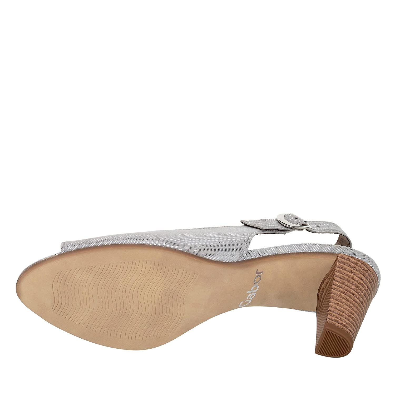 Gabor 81.834-69 Damen Sandalette Absatz aus Veloursleder Verstellbare Schnalle Absatz Sandalette Grau/Metallic cc4e4f
