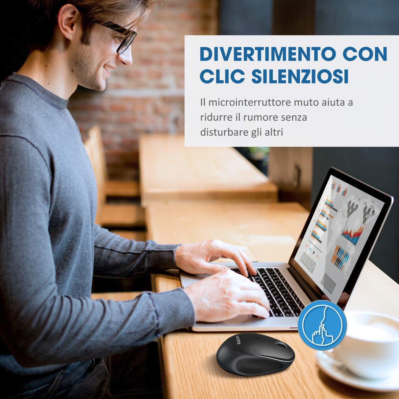 800//1200//1600//2000//2400 DPI Mouse Wireless a 6 Pulsanti per PC Windows Android VicTsing Mouse Bluetooth Silenzioso e Portatile Multi-Dispositivo Mac OS 36 Mesi in Standby