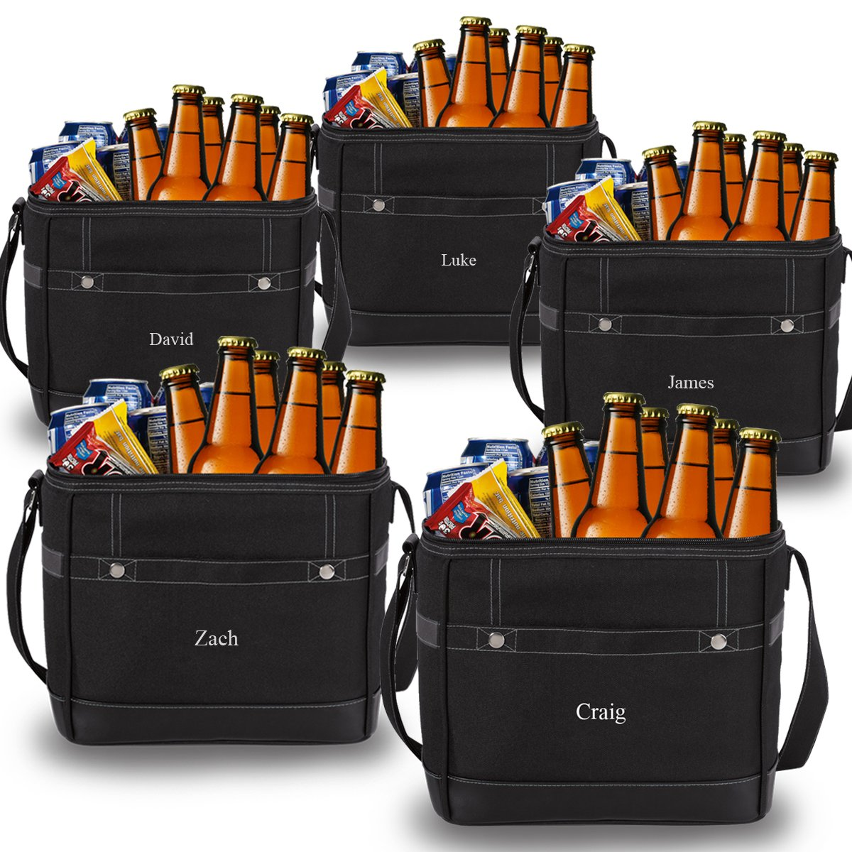 Personlized 12-Pack Black Cooler Tote - Custom Cooler Bag - Personalized Black Cooler Bag - Monogrammed Cooler Tote - Set of 5 by A Gift Personalized
