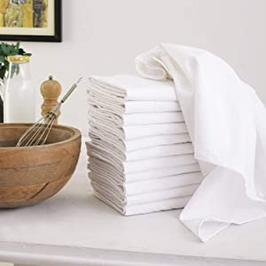 Flour Sack Dish Towels, Set of 12 (27 x 27 Inches), Multi-use White Kitchen Towels, 100% Cotton, Highly Absorbent, Tea towels for Embroidery