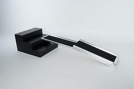 WORHAN® 2.15m Rampa Plegable Carga Silla de Ruedas Discapacitado Movilidad Aluminio Anodizado Modelo de Alta Adherencia 215cm R7J
