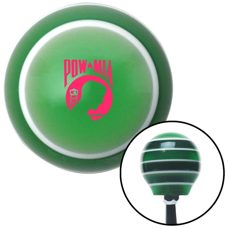 Pink Pow Mia Logo Green Stripe with M16 x 1.5 Insert American Shifter 275478 Shift Knob