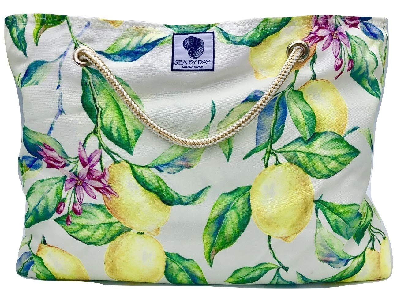 Classic Beach Bag, Pool Bag or Travel Tote- California Style Water Resistant (Lofty Lemon)