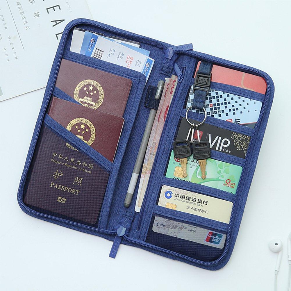 XXMING RFID Travel Wallet /& Documents Organizer Zipper Case Passports Holder Removable Wristlet Strap