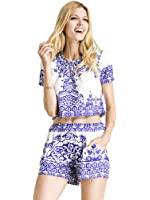 Choies Women's Blue Tile Print Crop Top With Shorts Two Piece Outfit Suit