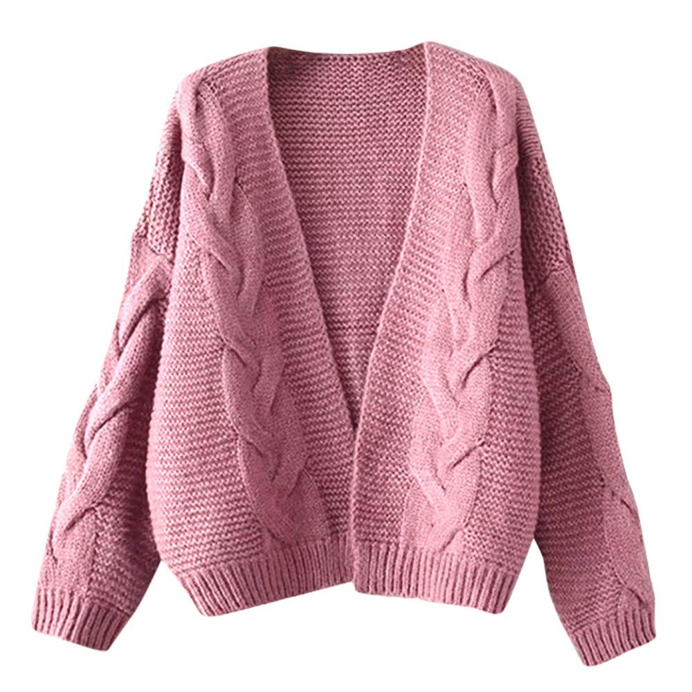 OCASHI Women Teen Girl Solid Tops Cardigans Chunky V Open Front Long Sleeve Knit Sweater Kimono Coat (US:16, Pink) by OCASHI