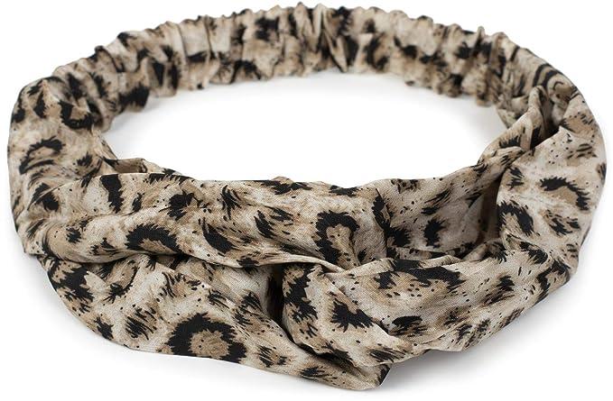 Stylebreaker Damen Haarband Mit Leo Animal Print Twist Knoten Und