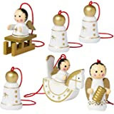 BRUBAKER 6 Handpainted Wooden Christmas Tree Ornaments Decoration - Christmas Guardian Angel Set - Designed in Germany