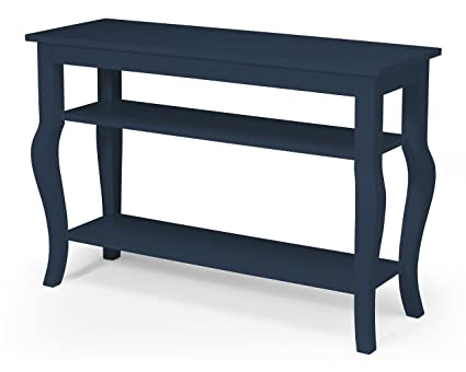 Attractive Kate And Laurel Lillian Wood Console Table With Curved Legs And Two  Shelves, Navy Blue