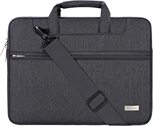 MOSISO Laptop Shoulder Bag Compatible with 13-13.3 inch MacBook Pro, MacBook Air, Notebook Computer, Polyester Sleeve with Back Trolley Belt, Space Gray