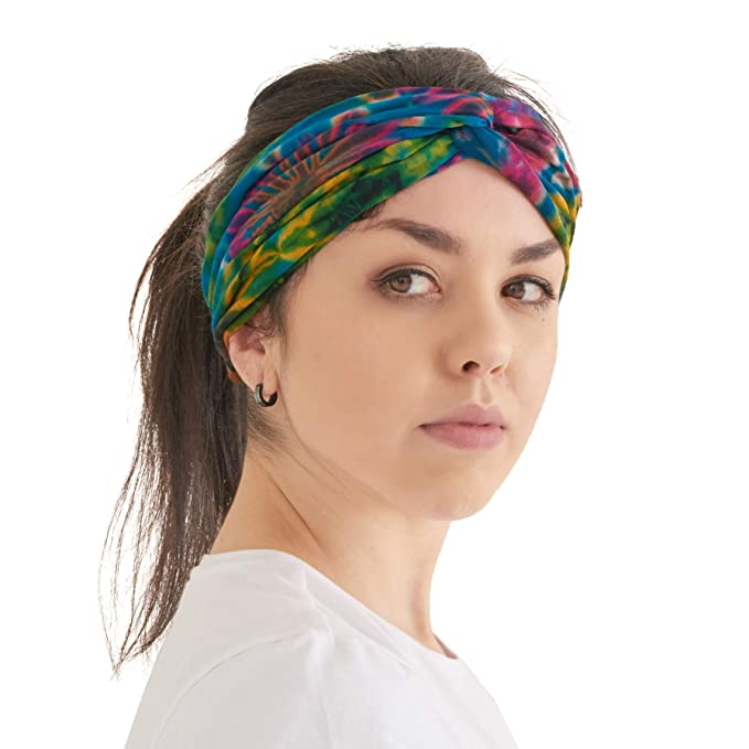 CHARM Womens Boho Tie Dye Headband - Fashion Turban Headwrap Hippy Hairband Hair Wrap