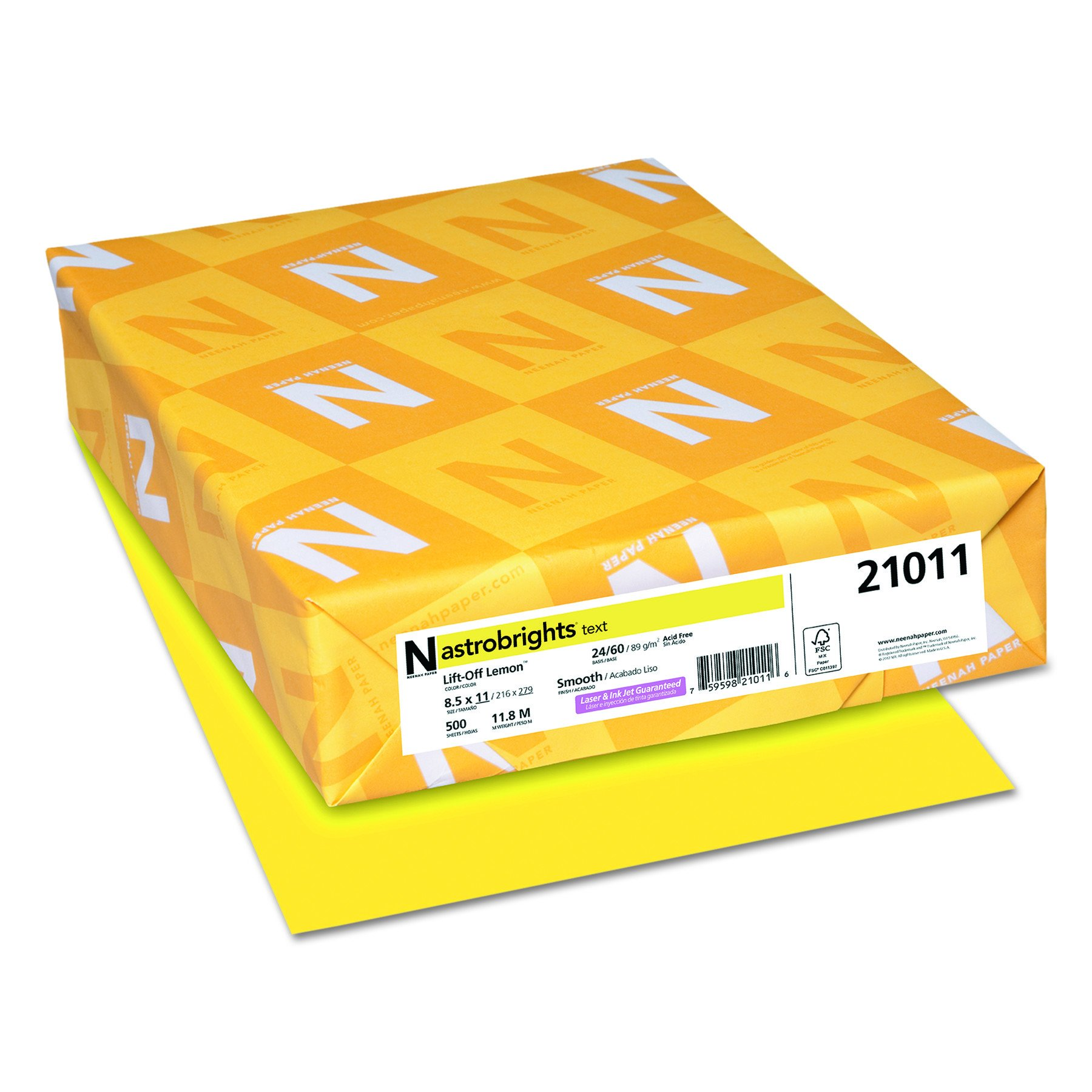 Wausau Astrobrights Heavy Duty Paper, 24 lb, 8.5 x 11 Inches, Lift-Off Lemon, 500 Sheets (22631) by Wausau