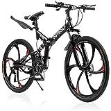 PanAme Folding Mountain Bikes, 21 Speed Shining SYS Double Disc Brake, Full Suspension 6-Spoke 26 Inches Anti-Slip Bicycle fo