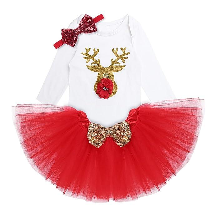 YiZYiF Vestido Navidad Fiesta Disfraz de Reno para Bebé Niña Pelele + Falda Estilo para Recién Nacido Bebe 3-18 Meses: Amazon.es: Ropa y accesorios