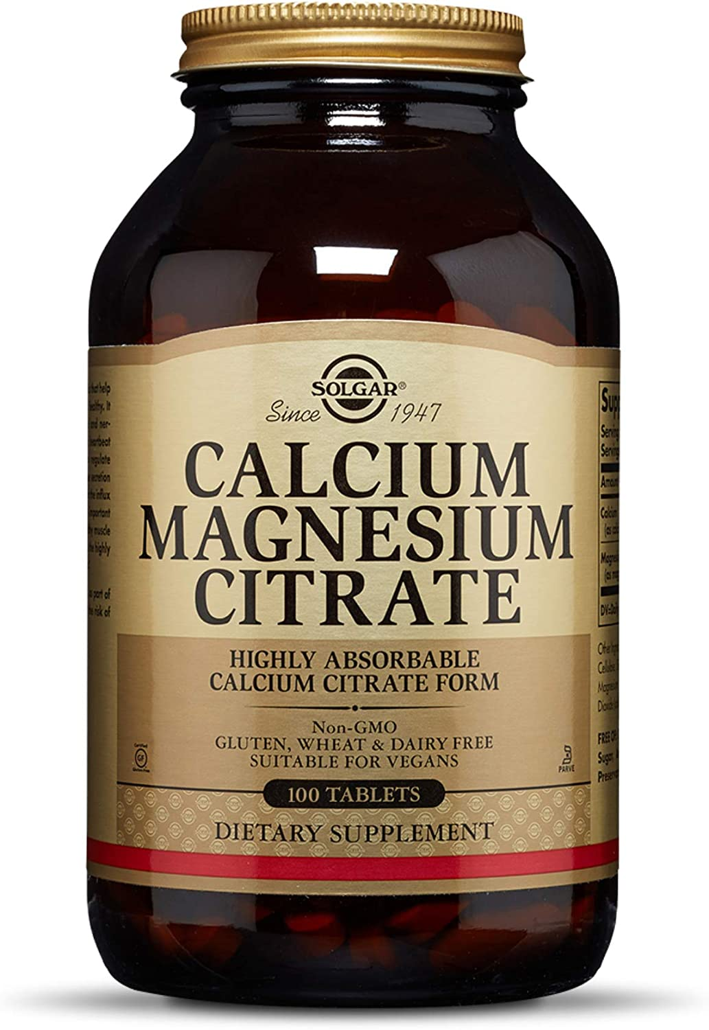 Solgar Calcium Magnesium Citrate, 100 Tablets - Supports Healthy Bones & Teeth - Musculoskeletal & Nervous System Support - Highly Absorbable - Non-GMO, Vegan, Gluten Free, Dairy Free - 20 Servings