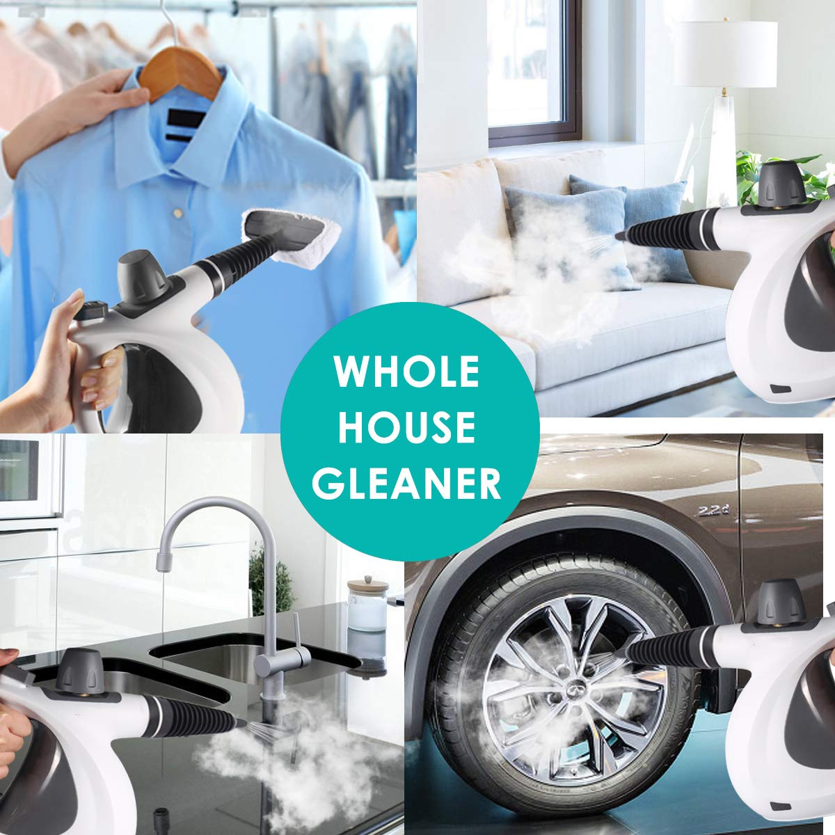 Patio Chemical-Free Steam Cleaning Home Handheld Pressurized Cleaner 9-Piece Accessory Set Purpose Multi-Surface All Natural Auto
