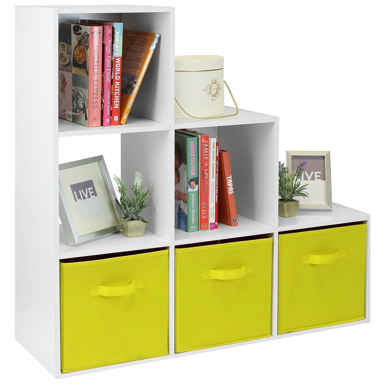 Hartleys White 6 Cube Unit /& 3 Yellow Storage Drawers