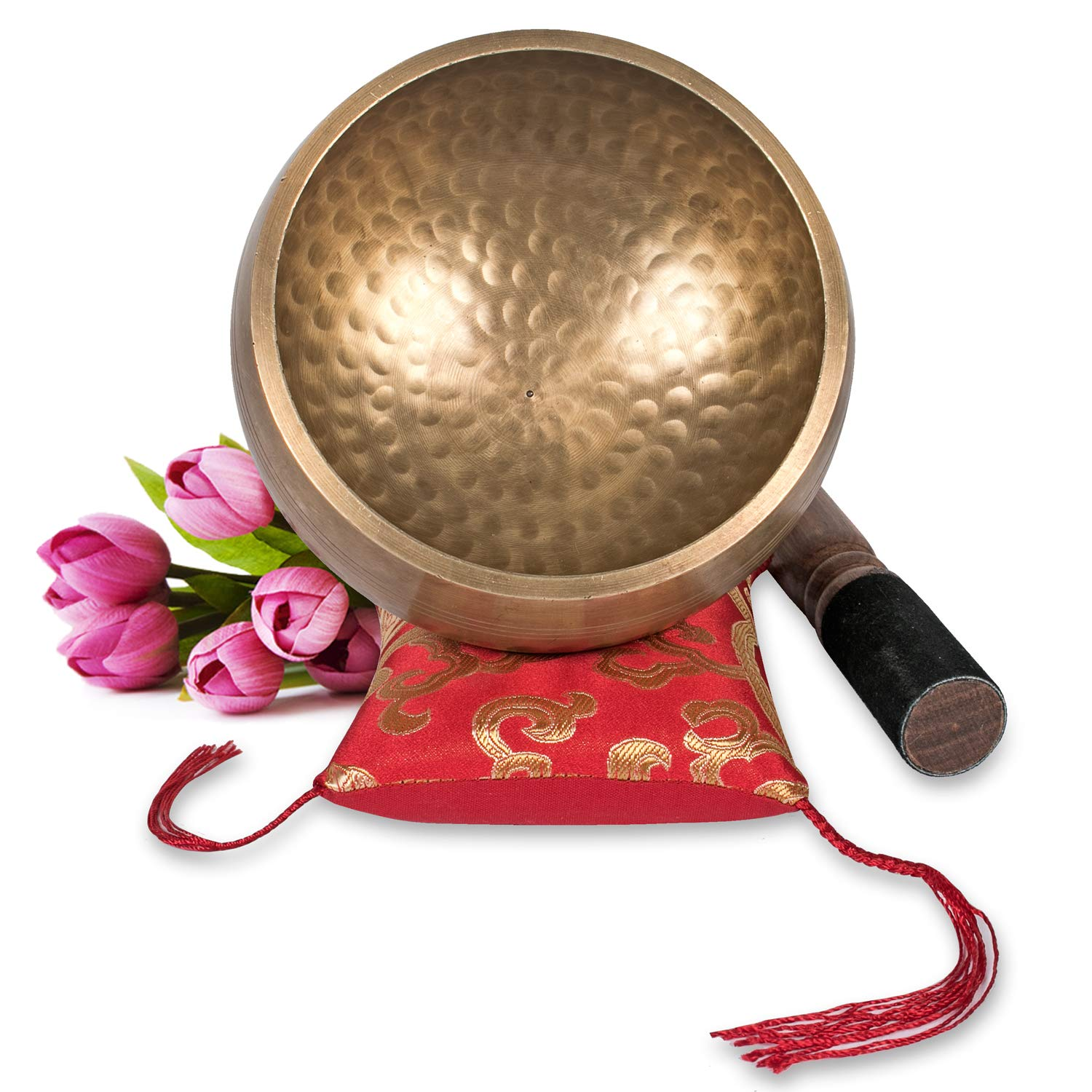 Tibetan Singing Bowl Set ~ Maha Bodhi 4.5 Inch Wide Authentic Meditation Gong for Relaxation, Chakra Healing, Stress Reducer, Yoga and Spiritual Mind ~ Artisan Hand Hammered ~ Perfect Gift by Maha Bodhi