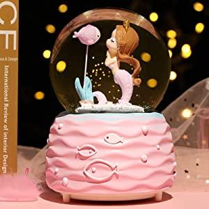 BREIS Mermaid Snow Globes,Snowglobes with Musical,LED Lights, Gifts for Girls,Birthday Christmas Festival Gift for 5-12 Year Old Girls (Pink)