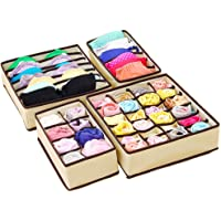 Drawer Organisers, Joyoldelf Set of 4 Collapsible Closet Divider Wardrobe Storage Organiser for Storing Socks, Cloth, Scarves, Bra, Neck Ties, Underwear