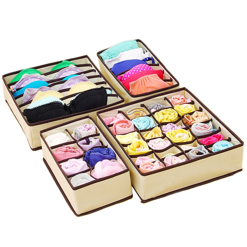 fazzoletti scatole per riporre calzini reggiseni Joyoldelf Scatola a scomparti,pieghevole per cassetti,4confezioni,organizzatori per biancheria intima