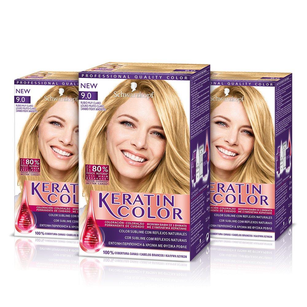Keratin Color Cream Coloración del Cabello 9.0 Rubio Muy Claro - 3 Unidades Henkel Iberica 5201143728225