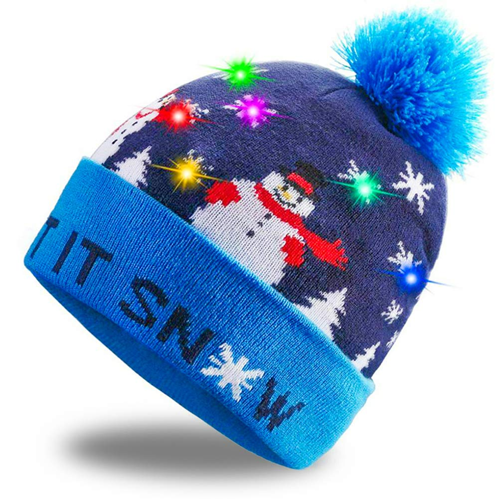 FuturePlusX Christmas Hat Beanie, Light Up Ugly Beanie LED Snowman Sweater Knit Cap Knitted Beanie Ugly Sweater Winter Colorful