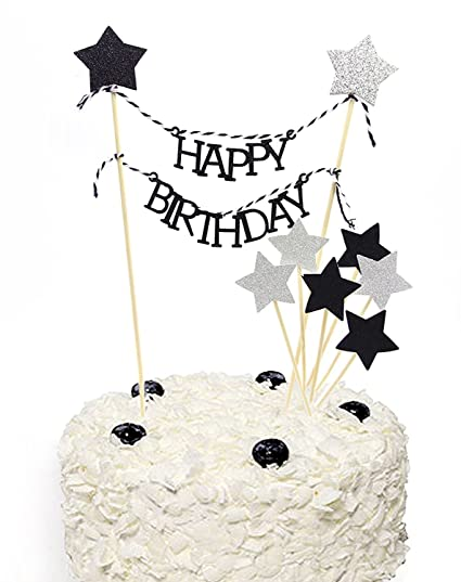 Black Glitter Pentacle Silver Giltter Cake Toppers Happy Birthday Bunting Topper Set Of 9
