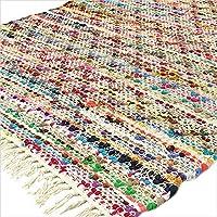Eyes of India - 3 X 5 ft Multicolor Colorful Chindi Woven Rag White Rug Bohemian Boho Decorative Indian