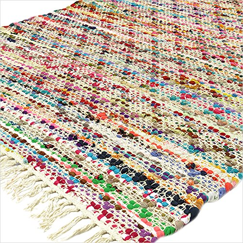 Eyes of India - 3 X 5 ft Multicolor Colorful Chindi Woven Rag White Rug Bohemian Boho Decorative -