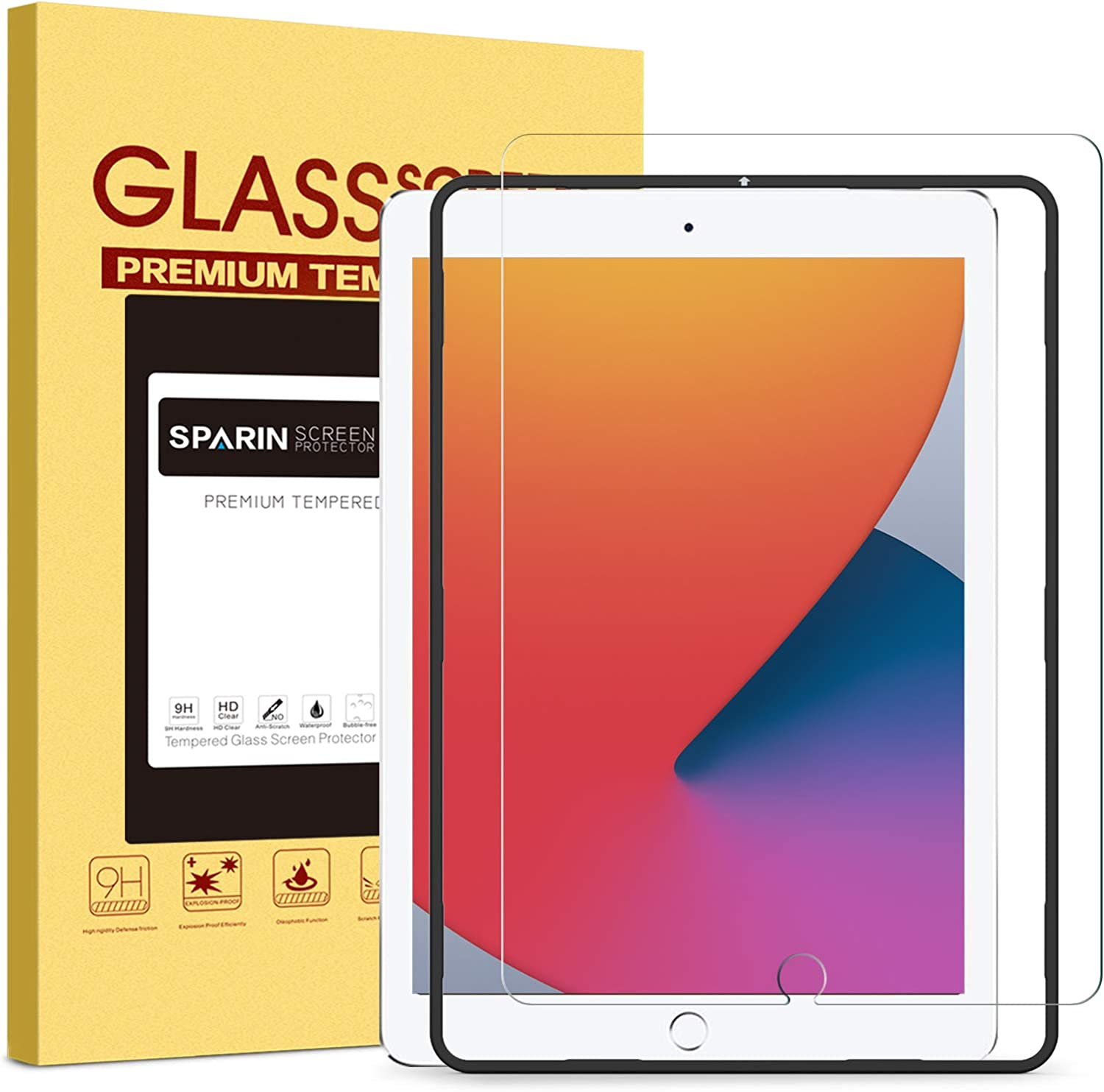 SPARIN Screen Protector for iPad 8th Generation 10.2 Inch 2020 Released and iPad 7th Gen 10.2 2019 Model with Alignment Frame/ Apple Pencil Compatible