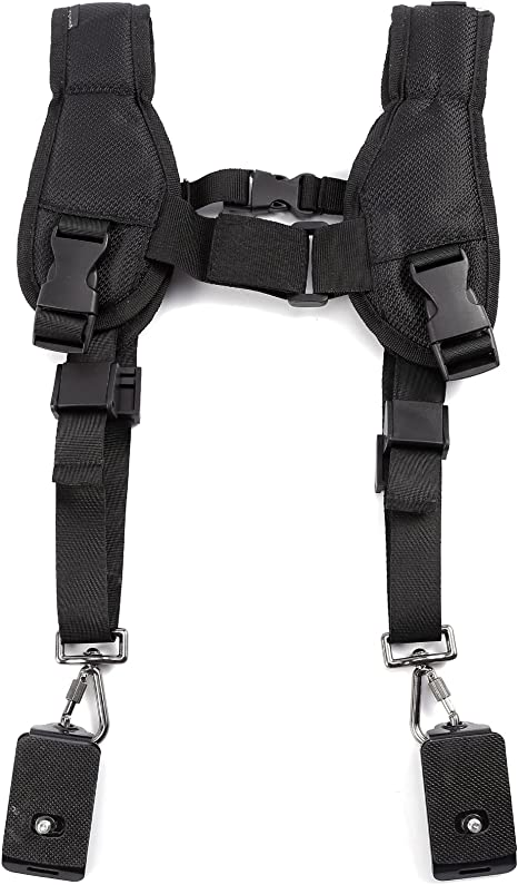 Cinturón doble para cámara DSL, correa de hombro, arnés: Amazon.es ...