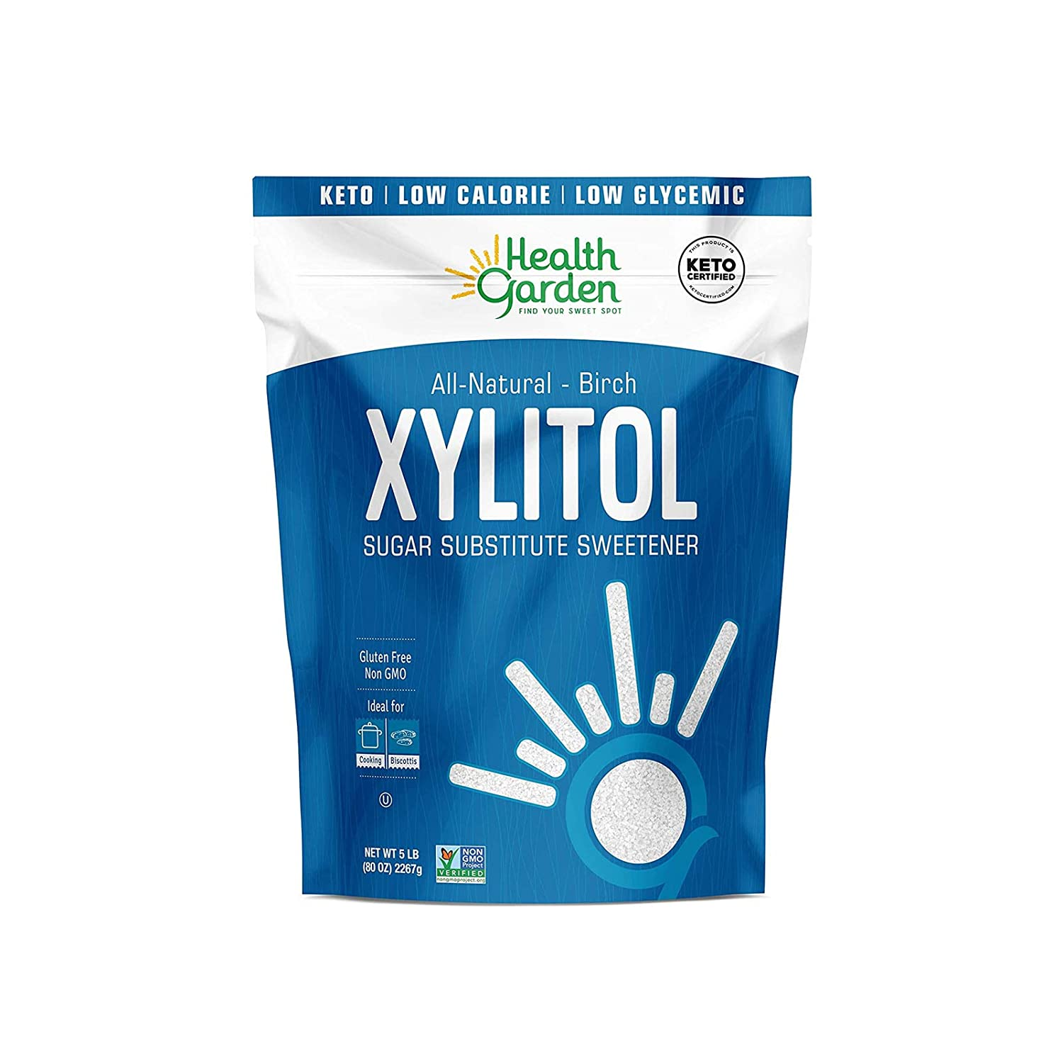 Health Garden Birch Xylitol Sweetener - Non GMO - Kosher - Made in the U.S.A. - Keto Friendly 5 LB ( Pack of 2 )