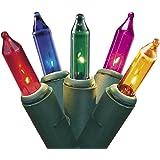 "Set of 50 Multi-Color Mini Christmas Lights 2.5"" Bulb Spacing - Green Wire"