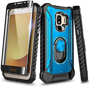 E-Began Case for Samsung Galaxy J2 (2019), J2 Core/J2 Pure/J2 Shine/J2 Dash with Tempered Glass Screen Protector, Magnetic Metal Built-in Ring Stand, Full-Body Protective Military Phone Case (Blue)
