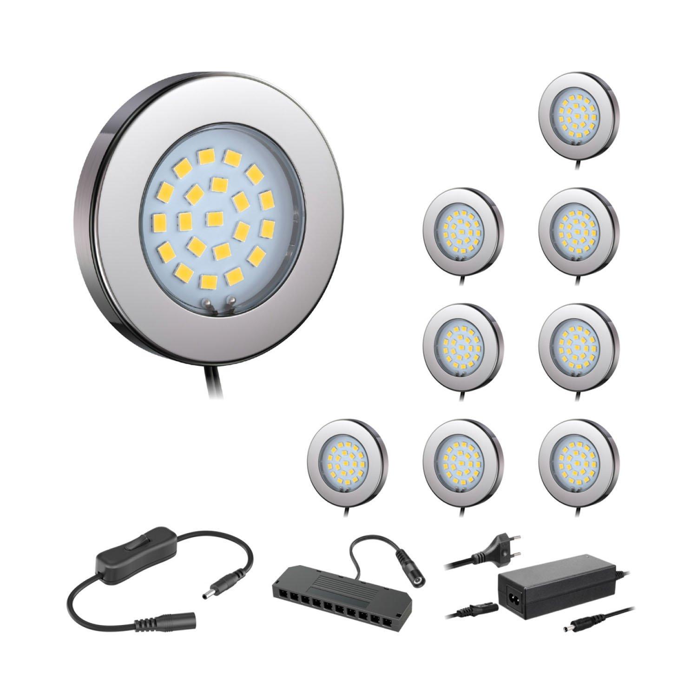 Ledscom  9er-Set LED Unterbau-Leuchte Maja, Chrom, mit Trafo, rund, flach, 6cm Ø, 290lm, warmweiß