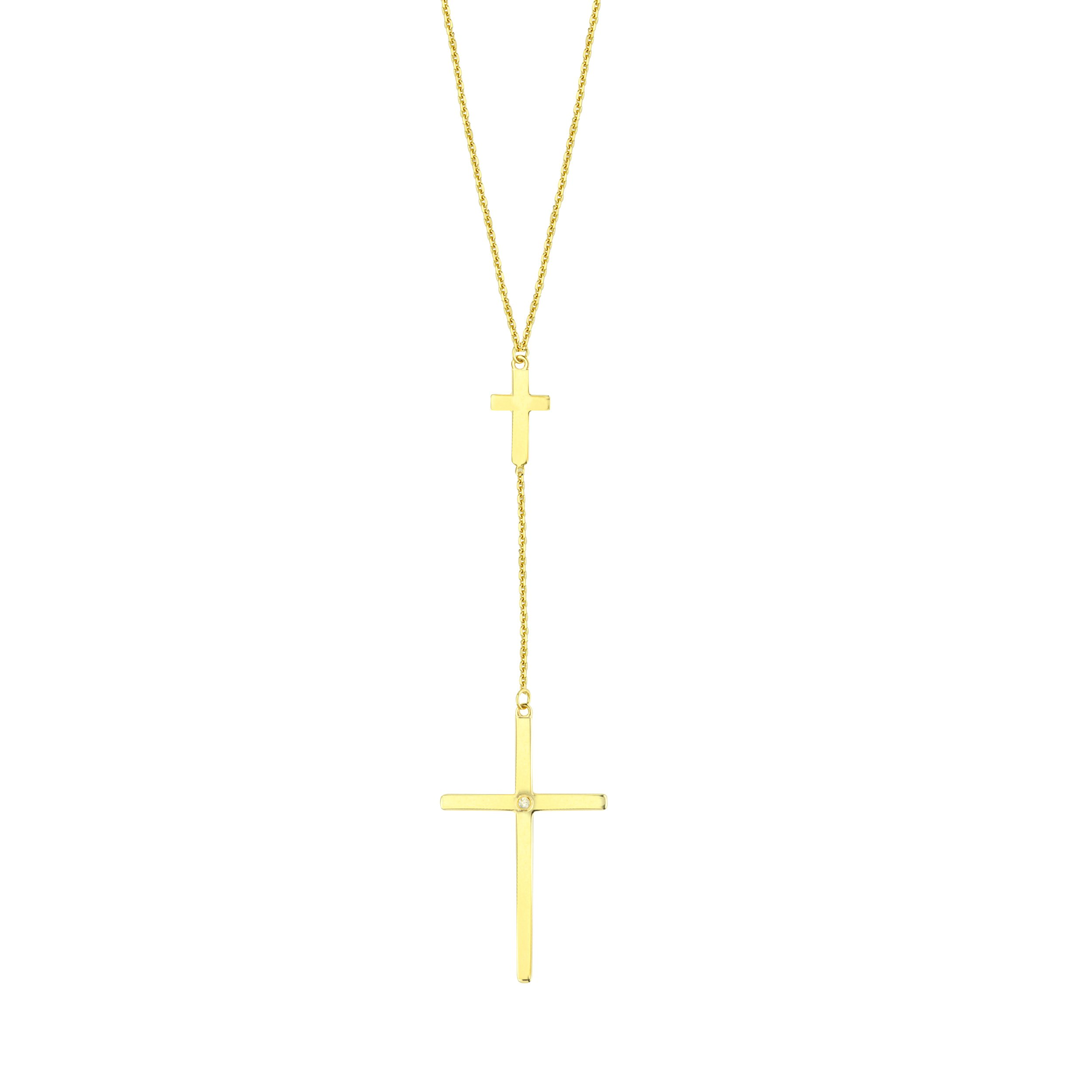 14k Yellow Gold Double Cross Drop Y-style Necklace with Diamond Accent