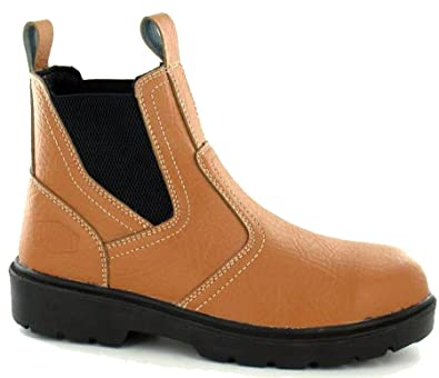 3331daa18ac Mens Leather Safety Chelsea Dealer Slip On Work Ankle Boots Shoes Size 7-11  -