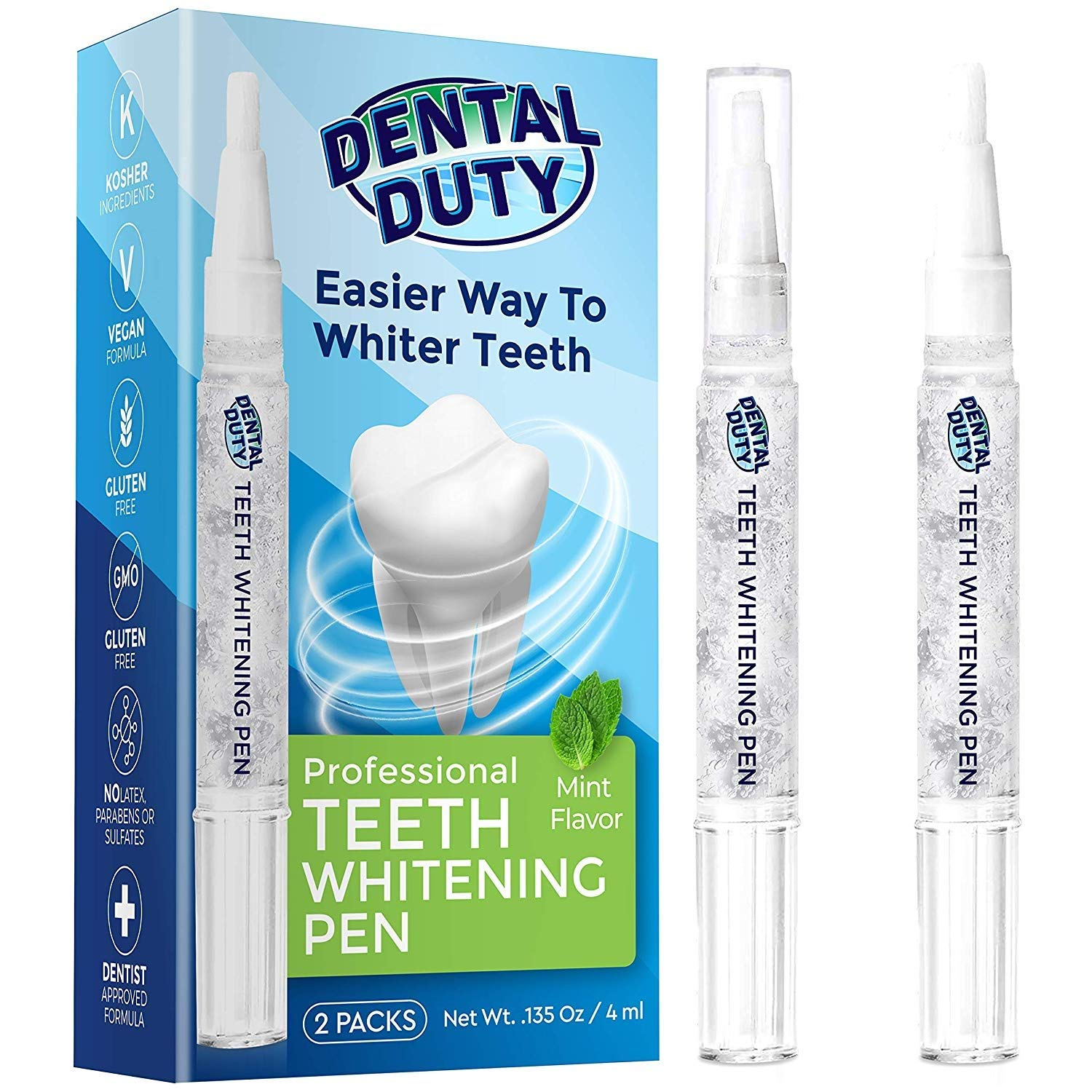 Dental Duty Teeth Whitening Kit With 2 Teeth Whitener Pens - For A Bright Snow White & Beautiful Smile- Stain Remover Pen For Sensitive Teeth- 35% Carbamide Peroxide Gel -30+ Uses- Natural Mint Flavor