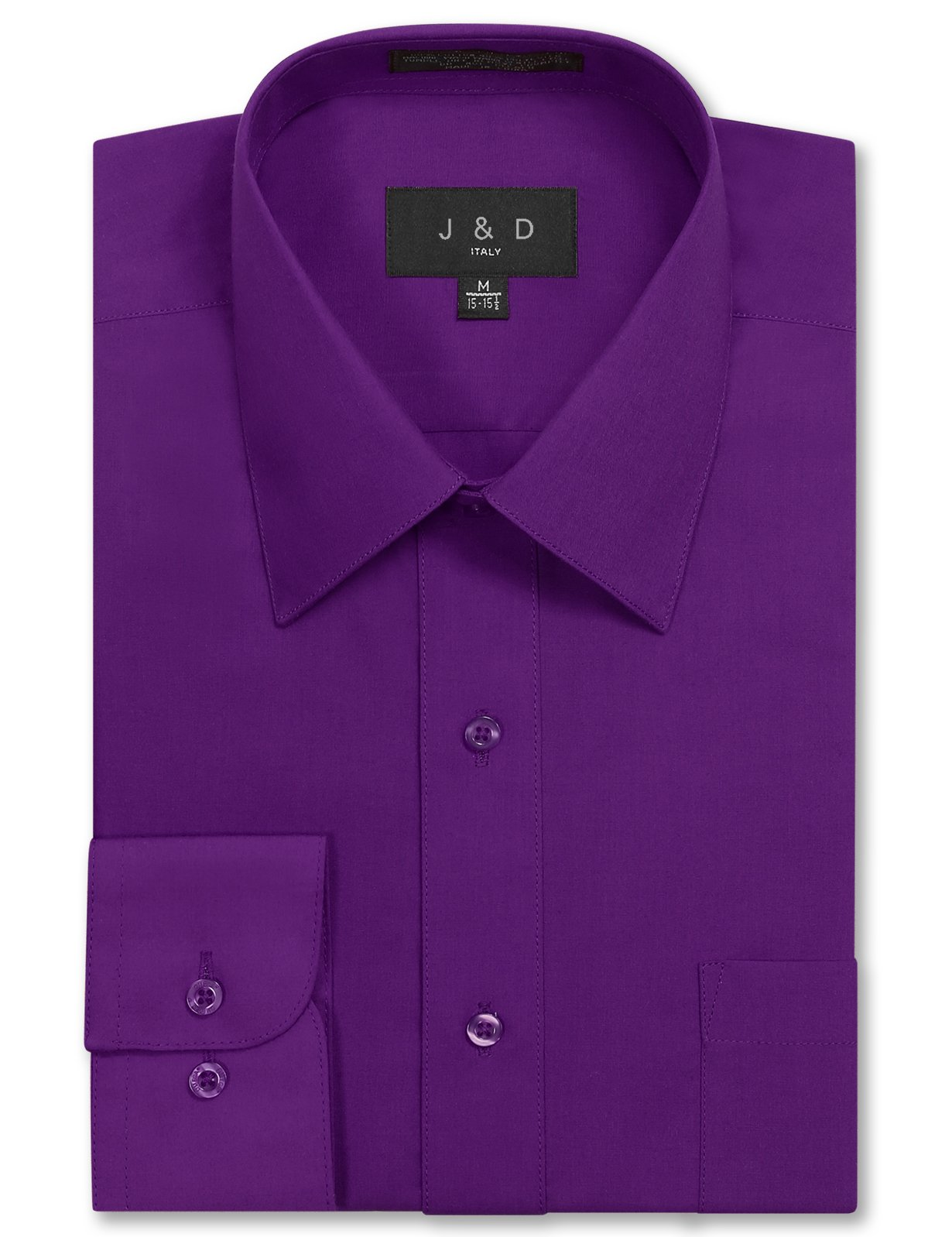 JD Apparel Mens Long Sleeve Regular Fit Solid Dress Shirt 17-17.5 N : 34-35 S Purple