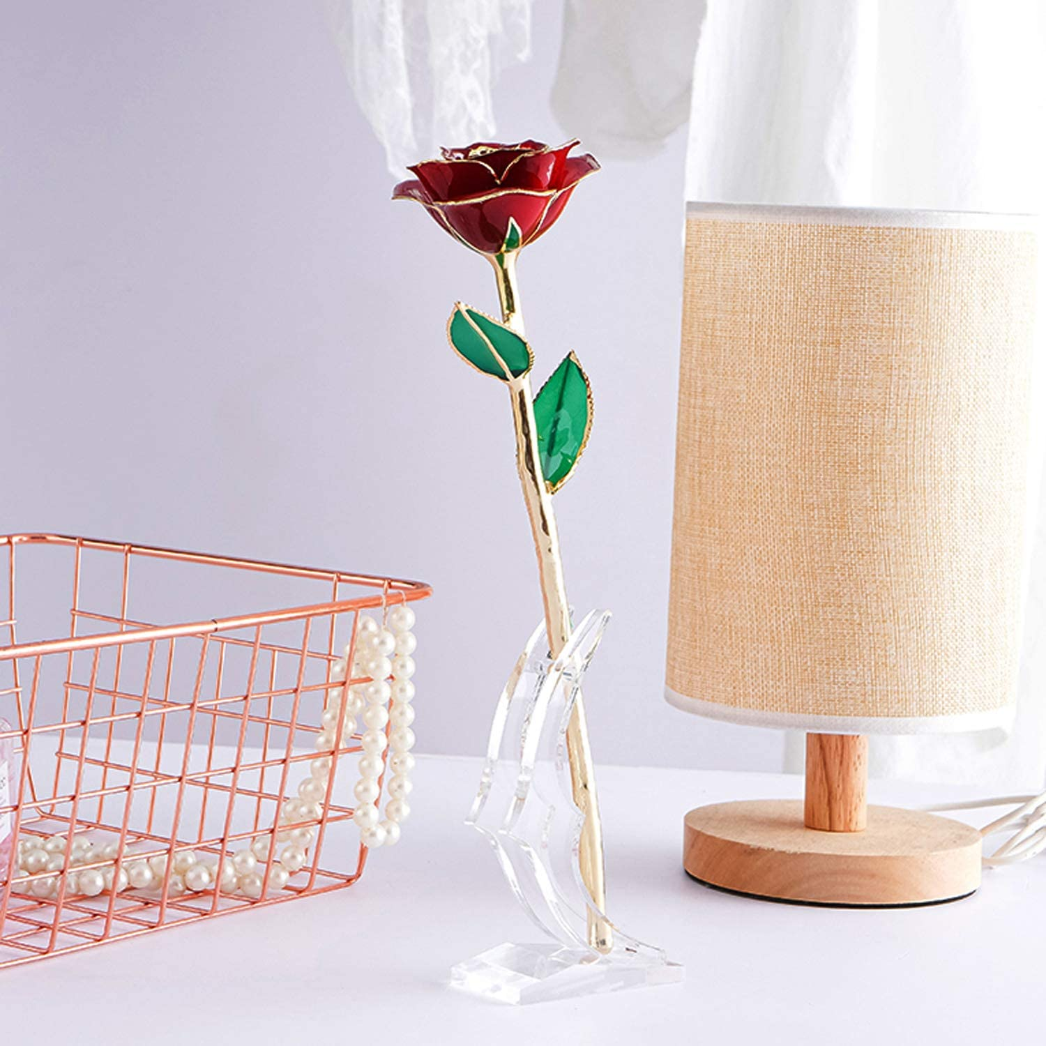 BEFINR Beauty and The Beast Rose Enchanted Flower with LED Light in Glass Dome for Christmas Valentines Day Mothers Day Birthday Best Gifts for Girlfriend Wife Women Her Colorful